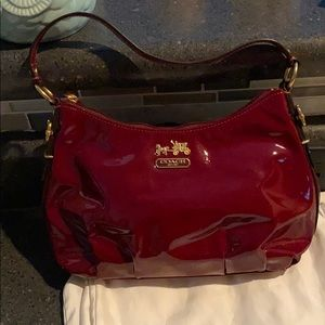 Coach crimson red purse with clutch strap